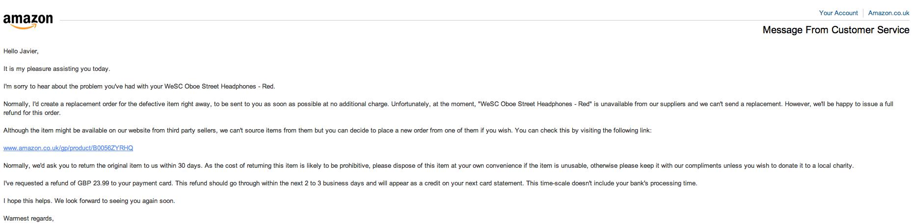 Respuesta de Amazon-caso WeSC